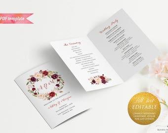 Printable Burgundy Floral Wedding Program Booklet, Editable Bi-fold US Letter size Pink Ceremony Program Template, DIY Instant Download #01