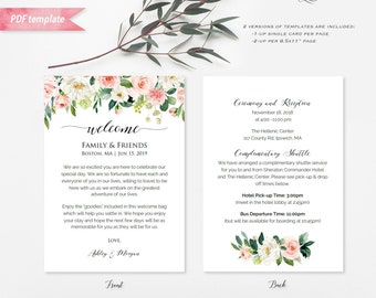 printable pink ivory green floral wedding welcome letter itinerary double sided 5x7 welcome bag note card pdf template diy download 14