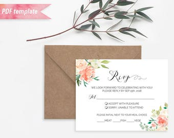 Printable Peach Cream Floral rsvp Card, Editable PDF Template, Rustic Boho Wedding Response Card, vistaprint, DIY Instant Download #02