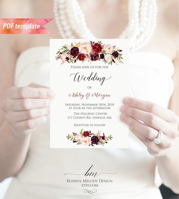 Printable Burgundy Floral Wedding Invitation PDF Template