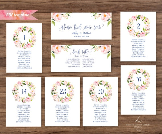 Rustic Seating Card Table Cards Editable PDF Seating Chart Template DIY Instant Download #02 Printable Peach Cream Floral Seating Plan