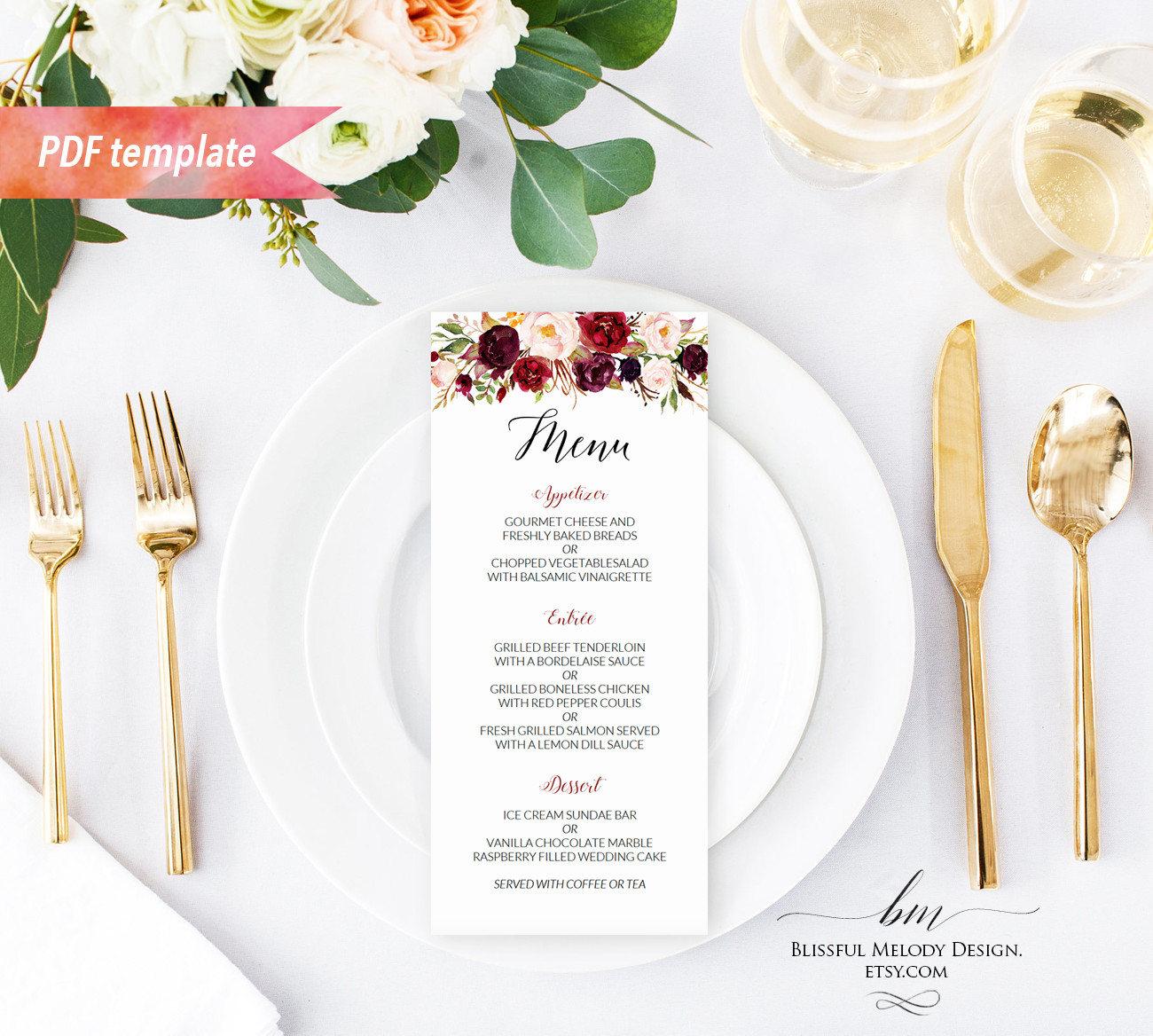 printable burgundy floral wedding menu editable pdf. Black Bedroom Furniture Sets. Home Design Ideas