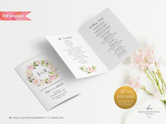 printable blush pink floral wedding program booklet editable bi