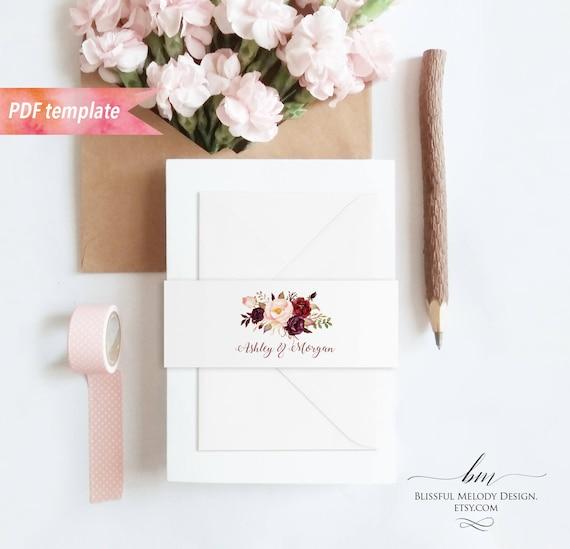 Printable Burgundy Floral Belly Bands For Wedding Invitation