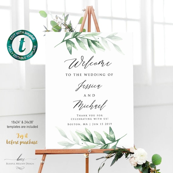 picture regarding Welcome Sign Templates identified as Thoroughly Editable Greenery High Welcome Indication Template, Printable Environmentally friendly Leaf Marriage ceremony Signal, Rite Welcome Poster, Do it yourself Edit at Templett #26