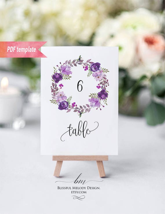 printable purple lavender floral wreath table number card editable