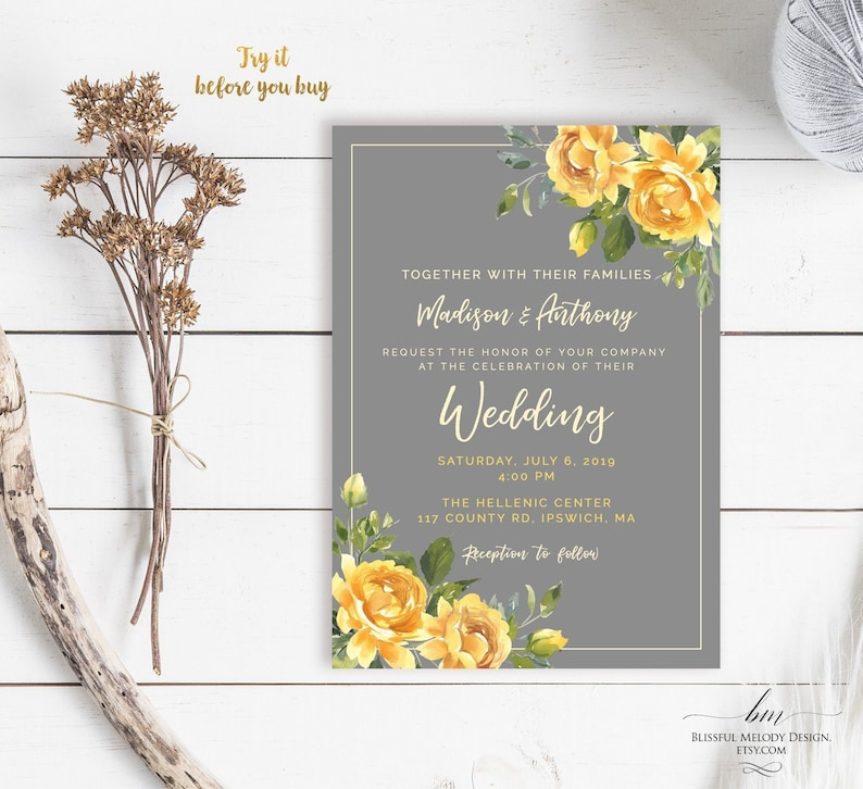 Printable Yellow Gray Wedding Invitation Template All Editable 5x7 Rustic Floral Grey Purpose Invite Edit At Templett 25