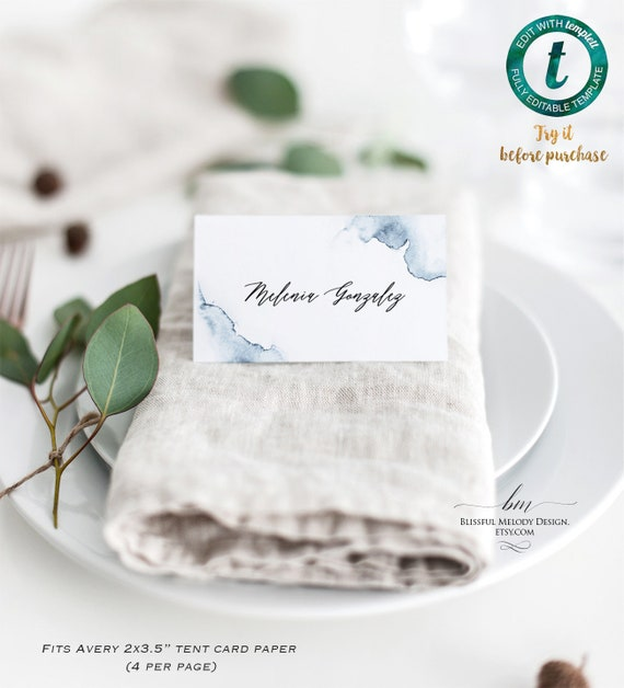 photo relating to Avery Printable Place Cards named Printable Mint Inexperienced Watercolor Swash Tent Issue Card