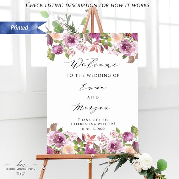 Customizable Sign Purple Rustic Floral Wedding Custom Sign Template Design Your Own Sign Create Your Own Wedding Reception Sign