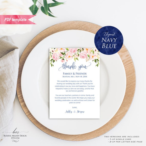 Printable Blush Pink Floral Navy Blue Wedding Thank You Note 5x7