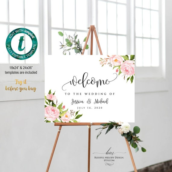 photograph relating to Welcome Sign Templates known as All Editable Blush Purple Floral Horizontal Welcome Indication