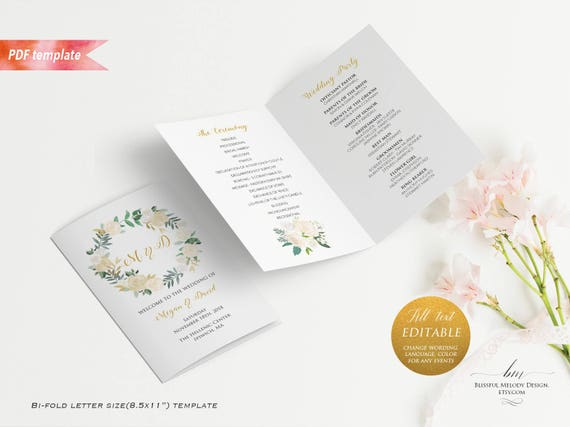 printable ivory cream floral gold wedding program booklet editable