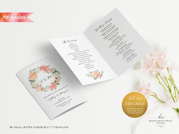 printable peach cream floral wedding program booklet editable bi
