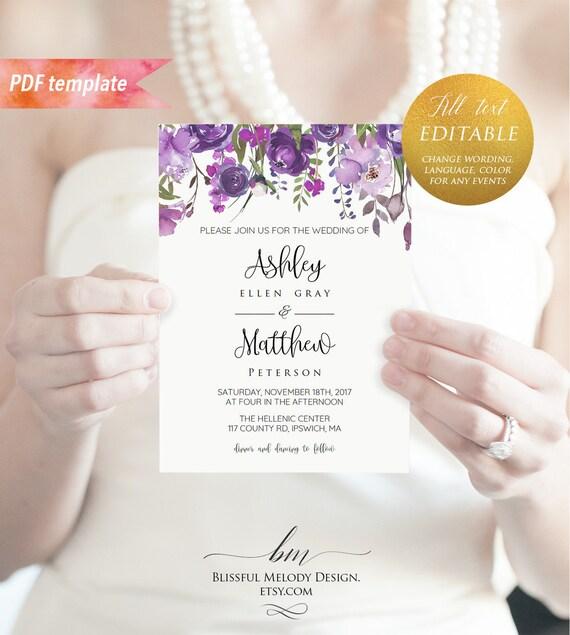 Printable Purple Lavender Floral Wedding Invitation Template Etsy