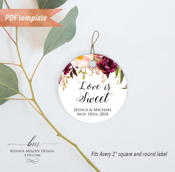 Printable Pink Burgundy Floral Wedding Favor Tag Gift Tag Name Tag
