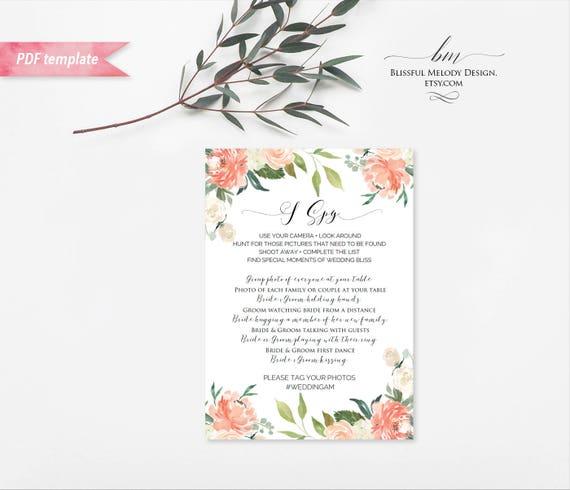 Printable Peach Cream Floral I Spy Wedding Game Card Editable Etsy