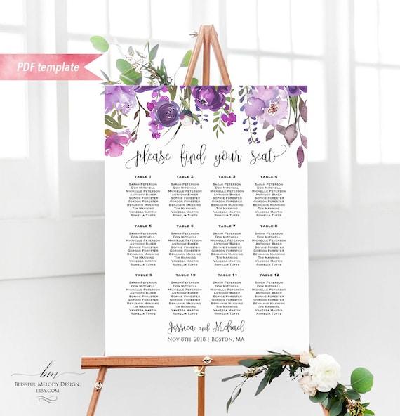 Printable Purple Lavender Floral Seating Chart Board Wedding