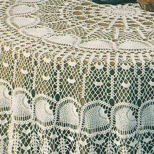 Vintage Crochet Pattern 72 Granny Square Round Tablecloth Sewn Gingham Fabric PDF Instant Digital Download Boho Chic 4 Ply Table Cover