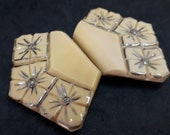 Moulded Caramel Glass Buckle Original Czech Chrome Enamel Flowers 1930s Art Deco