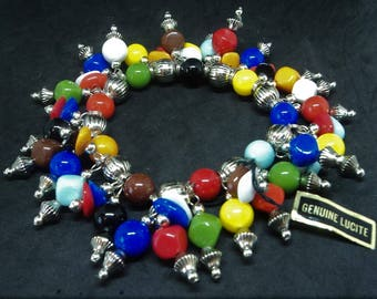 c.1980s Real Lucite Bracelet... Bright Multi Coloured Beads... Stretch