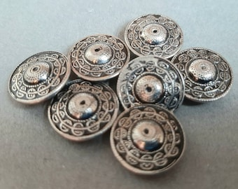 7x Vintage Ornate Silver Buttons... 16mm Hollow Metal
