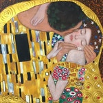 Gustav Klimt The Kiss reproduction oil painting on canvas, gold paint, made to order, 100% money back guarantee