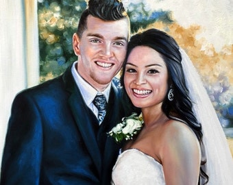 Custom wedding portrait on canvas, large oil painting on canvas. 100% money-back guarantee