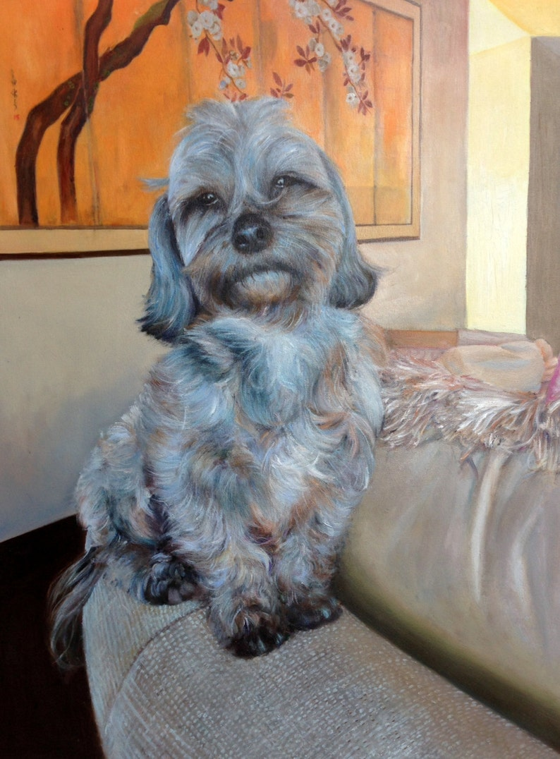 Dog portrait from photo large oil painting on canvas. 100% image 0