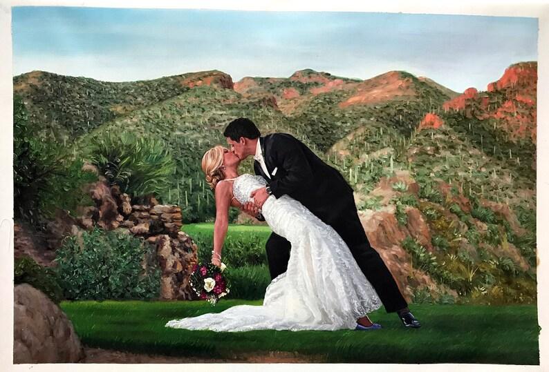 Custom wedding portrait on canvas large oil painting on image 0