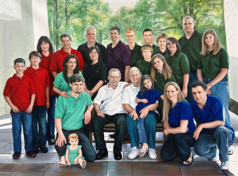 Family portrait from a photo extra large oil painting on image 0