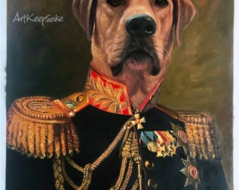 Custom dog head painting from photo, funny pet portraits, large oil painting on canvas. 100% money-back guarantee