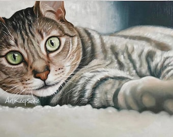 Cat portrait from photo, large oil painting on canvas. 100% money-back guarantee