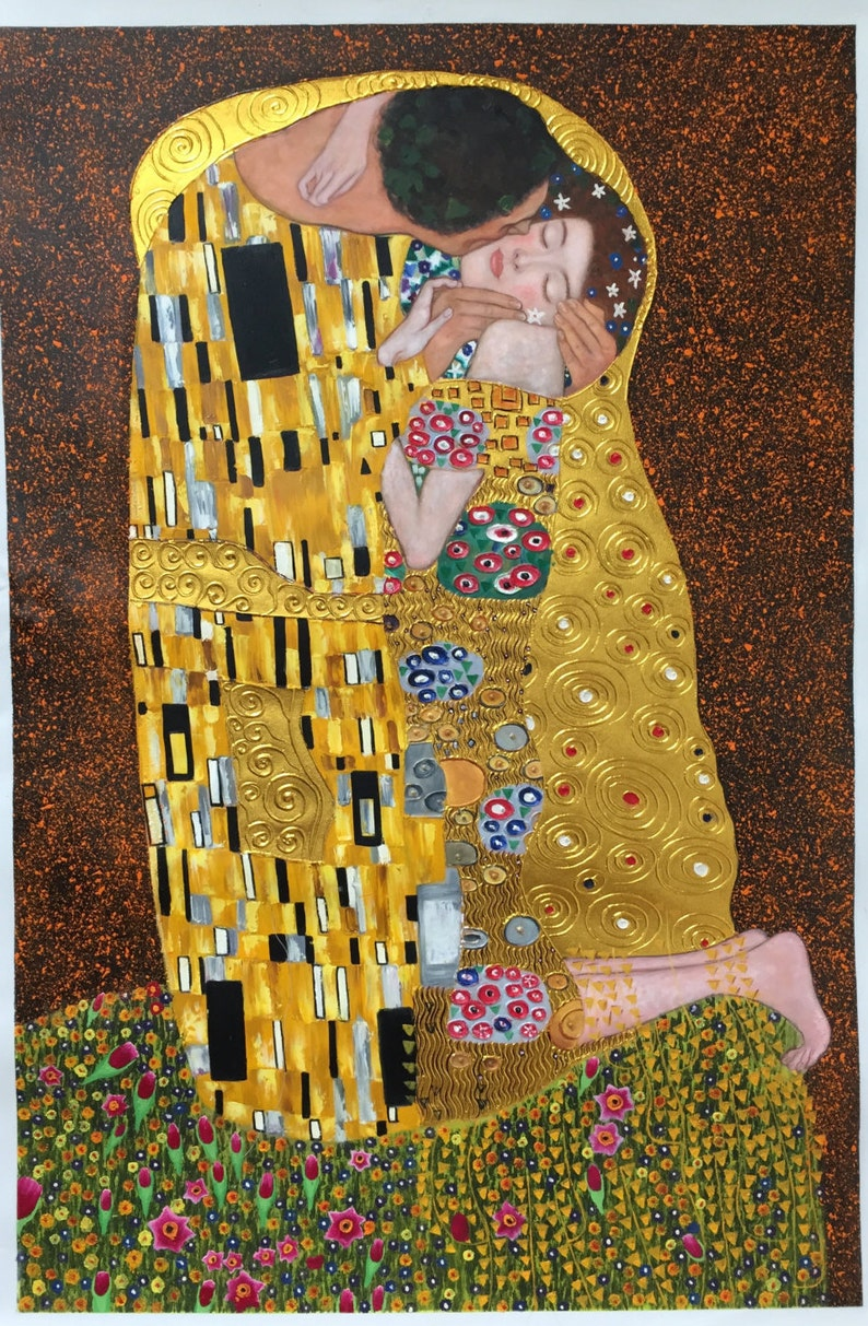 Gustav Klimt The Kiss reproduction oil painting on canvas image 0