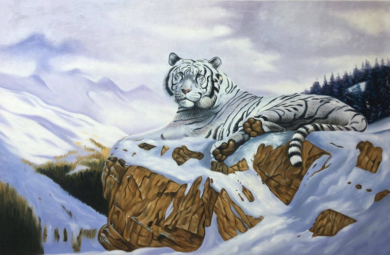 SALE White tiger oil painting on canvas nature scene image 0