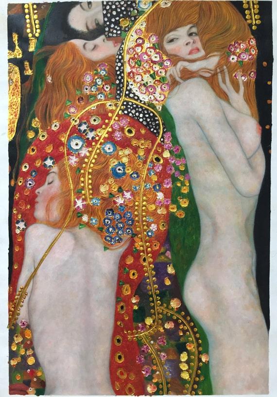 Ongekend Gustav Klimt water Serpents II waterslangen reproductie | Etsy NR-62