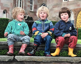 Baby and kids portrait, 3 person large oil paintings on canvas. 100% money-back guarantee