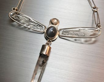 Real dragonfly wing & moonstone necklace