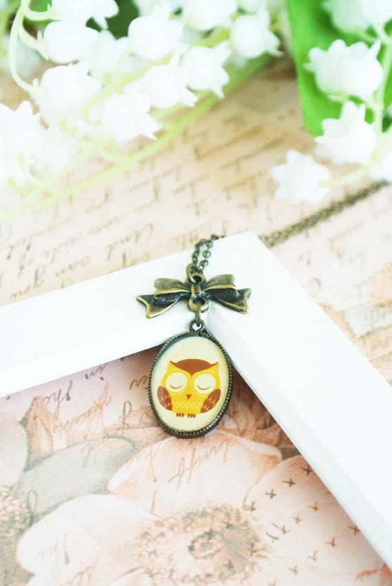 Sleepy Owl Necklace- Owl Pendant with Bow Necklace-Woodland Animals Jewelry