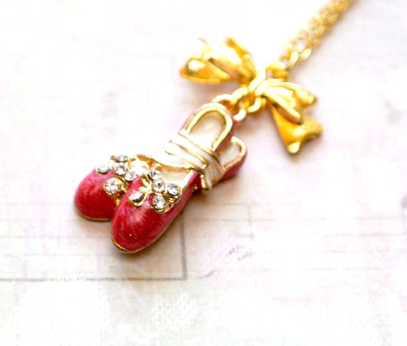 ballet shoes necklace, dark pink ballet shoes necklace - iceblues