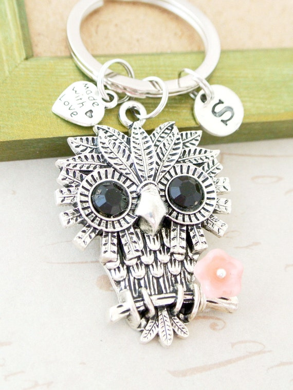 Personalized owl keychain with pink flower gift for her- Silver owl initial keychain-Owl keyring for owl lover gift-Owl custom keychain