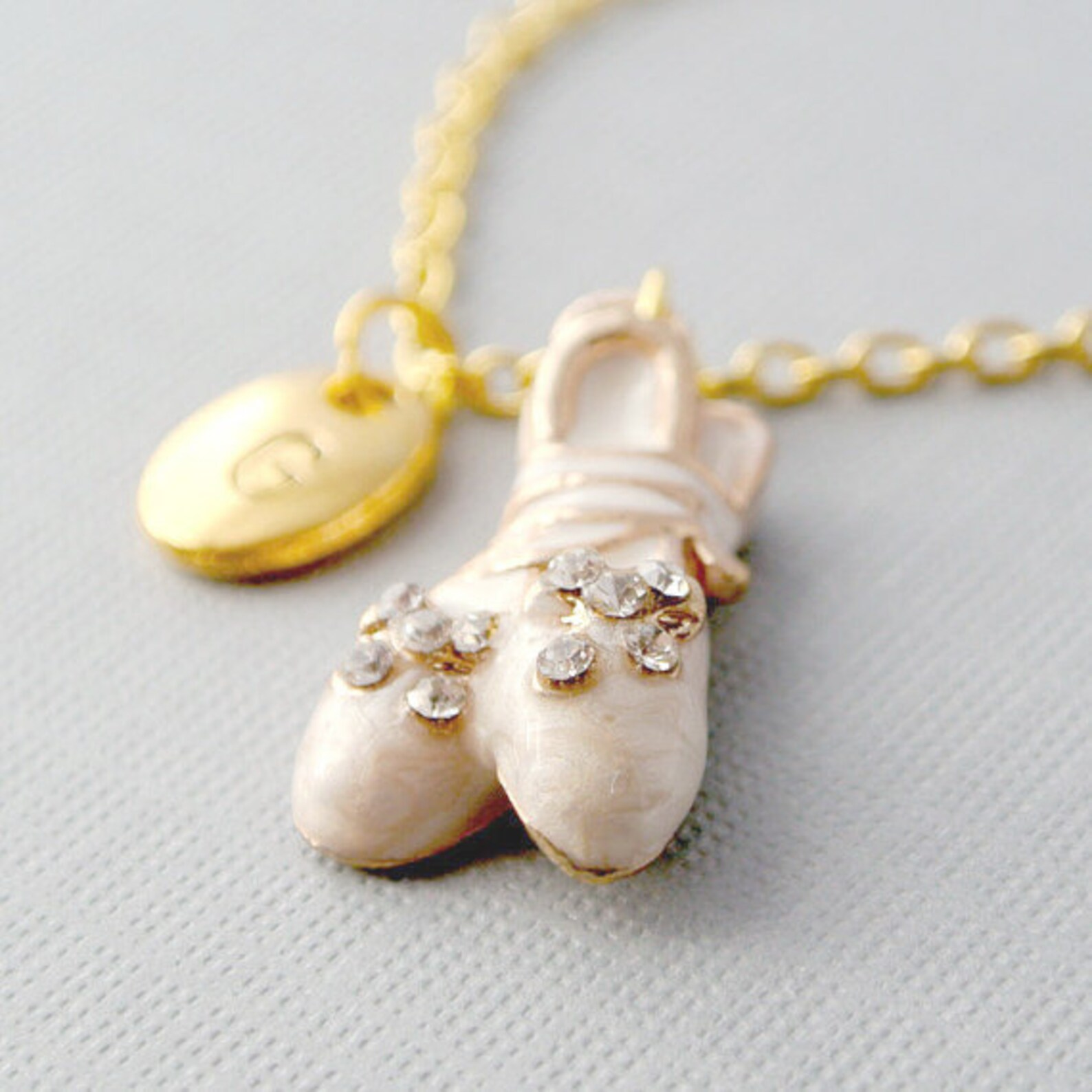 ballet shoes necklace-personalized hand-stamped initial gold tone & white charm-gift for her