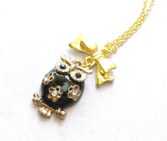 Black Owl Necklace ,Rhinestone Jewelry, owl Necklace