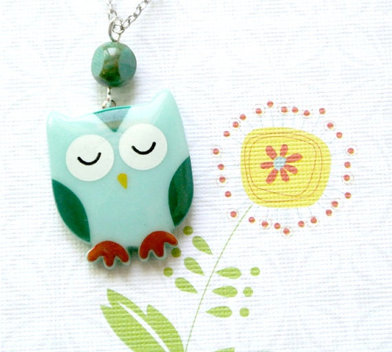 Owls Necklace,Sleepy Owl Pendant Necklace,Owl Jewelry Necklace,Owl Pendant Necklace,Teen Jewelry