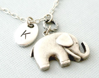 Elephant necklace with initials-Personalized silver elephant jewelry gift for her-Animal initial necklace for best friend gift-Birthday gift