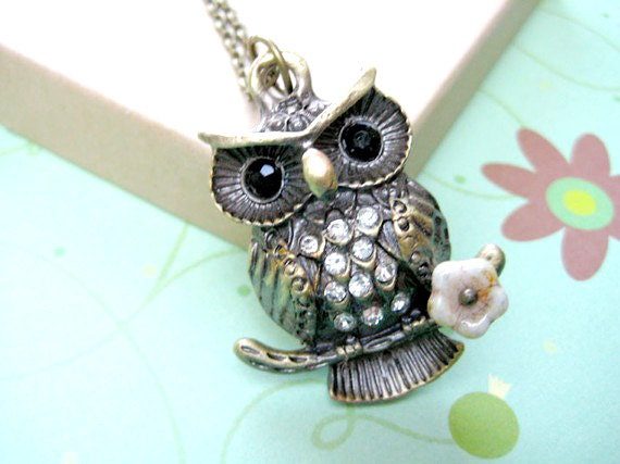 Owl Necklace, Woodland Animals Jewelry,Rhinestone Owl  Necklace, Owl Pendant Jewelry, Cute Owl Necklace