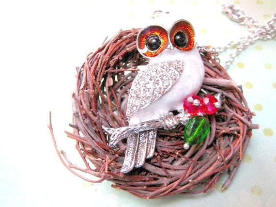 Owl Necklace, White Owl Necklace, Owl Pendant Jewelry, Animal Necklace, Bird Jewelry