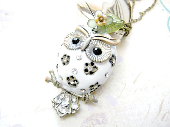Owl Necklace,White Owl Pendant Necklace,Rhinestone Owl Necklace,Woodland Animals Jewelry
