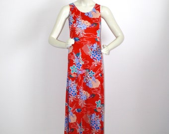 7dba76bd680 1970s Red Maxi Dress . Vintage 70s Stretch Knit Sleeveless Form Fitting Long  Floral Hippie Dress . Size Small