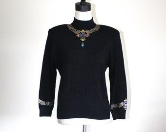 071ef540a29 Vintage ST. JOHN Knit Sweater Top . Black Fabulous Famous St. John Knit by  Marie Gray . Beaded Rhinestone Necklace Sweater