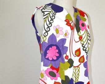 06666b980c27 1960s BARKCLOTH Hawaiian Dress . Vintage 60s Retro ALICE Polynesian  Fashions Bright Floral Muumuu Hawaii Luau Maxi Dress . Size 12 Large